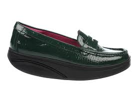 SHANI LUXE PENNY LOAFER BOTTLE GREEN PATENT